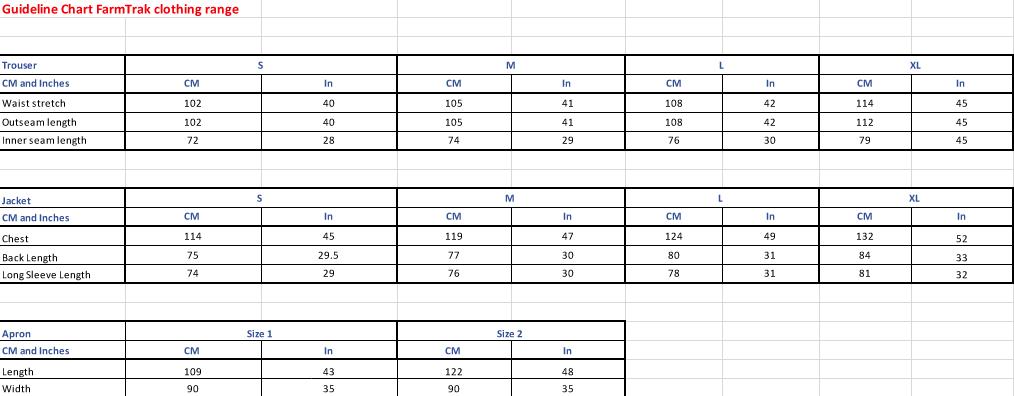 Farmtrak Clothing Size Chart