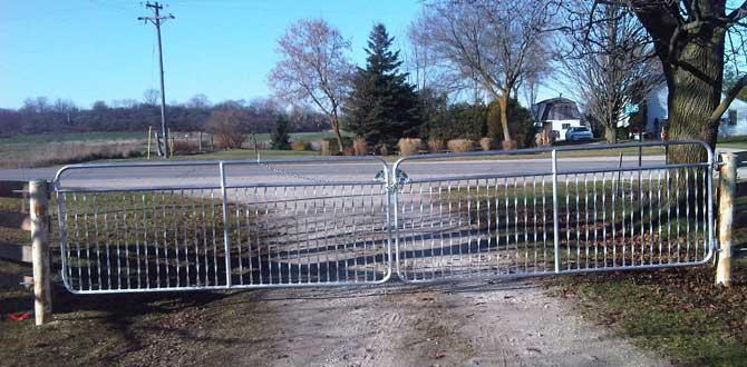 Aluminum Spiral Gates across a driveway