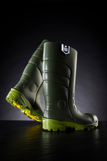 black background safety boots