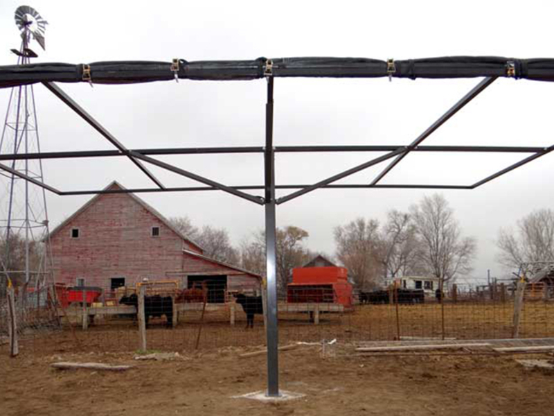 Livestock Shade with tarp rolled up